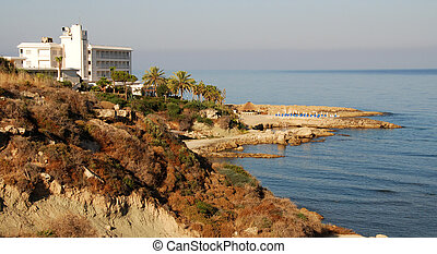 Holiday resort from Paphos beach in Cyprus...