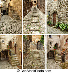 group of images with beautiful old cobbled streets in Italian villages, Europe