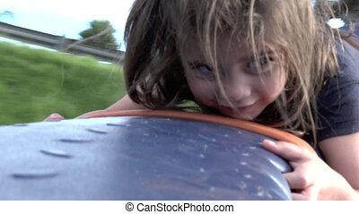 Little girl age 04 play in playground - Slow motion of a...