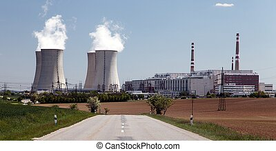Nuclear power plant Dukovany with road, Czech Republic