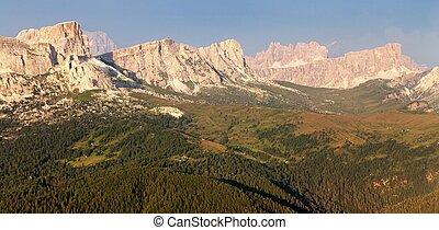 Evening view from mount Col DI Lana to gruppo Nuvolau, one...