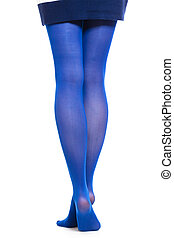 Woman long legs and blue stockings isolated - Female...