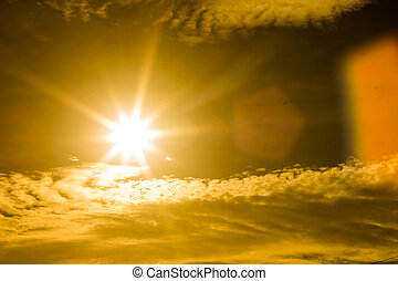 sun burst with lens flare - Summer background with a...