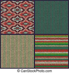 Seamless Knitted Pattern. Set of Christmas Samples. Collection o