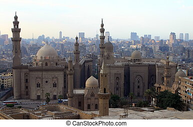 Mosque of Sultan Hasan and cityscape of Cairo Egypt - Mosque...
