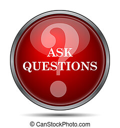Ask questions icon. Internet button on white background.