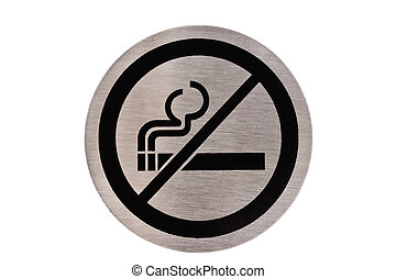 No smoking sign - Steel non smoking sign isolated on white