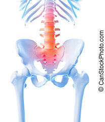 painful lumbar spine - medical 3d illustration of a painful...