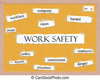 Work Safety Corkboard Word Concept with great terms such as...
