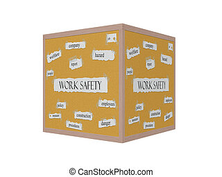 Work Safety 3D Corkboard Word Concept with great terms such...