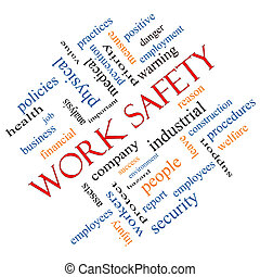 Work Safety Word Cloud Concept angled with great terms such...