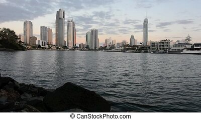 Surfers Paradise Skyline at dusk in Gold Coast Queensland,...