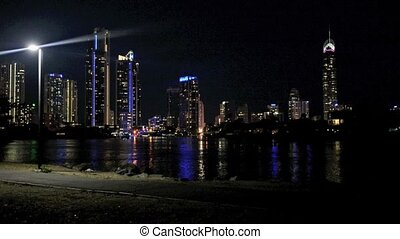 Surfers Paradise Skyline at night in Gold Coast Queensland,...