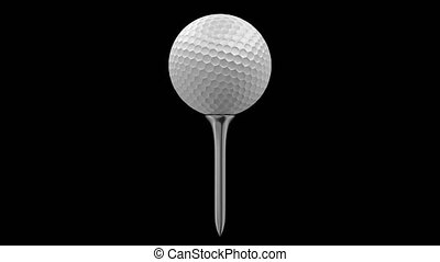 Golf ball rotating on a tee, 4K render