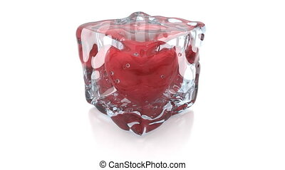 Heart inside the ice cube, 4K render, heart beat is...