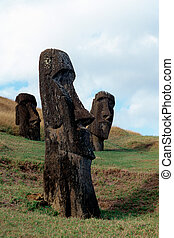 Moai- Easter Island, Chile - Moai heads at the volcanic...