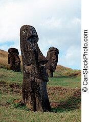 Moai- Easter Island, Chile - Moai heads at the volcanic...