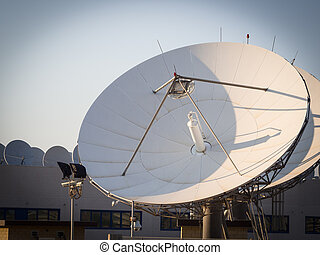 teleport satellite communications. Group of antennas in...