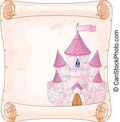 Fairy tale theme parchment castle design