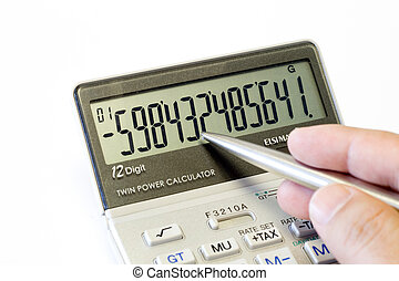 calculator - a mans hand holding a pen pointing at figures...