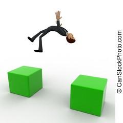 3d man jumping gap concept