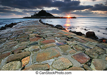 Causeway at dusk. - This causeway leads to the Benedictine...