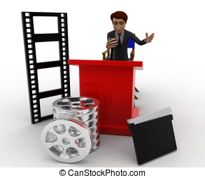 3d man all equipment of film industry concept