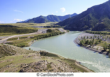 Confluence of mountain rivers Chuya and Katun - Confluence...