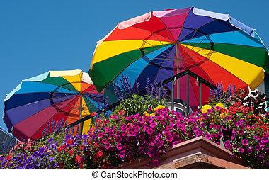 Rainbow Umbrellas - Rainbow umbrellas in Seattle