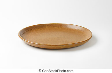 brown plate - empty brown plate on white background