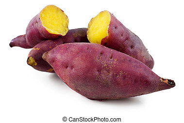 Sweet potatoes. - Cooked whole and halved purple sweet...