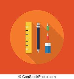 Education Flat Icon. Stationary