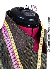 tailoring of male woolen tweed jacket on dummy isolated on...