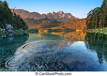 Eibsee - Fantastic sunrise on mountain lake Eibsee, located...