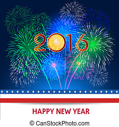 Happy new year fireworks 2016