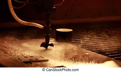 View of running machine for waterjet cutting metal, close-up