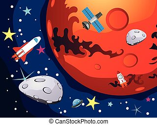 Mars - Cartoon planet Mars in the space with stars and...