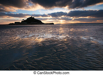 St Michaels Mount Cornwall UK - The pools trapped by the...