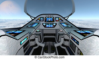 space ship - Image of space ship cockpit view