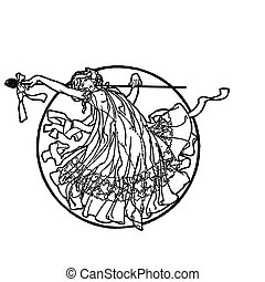 Muse - Vector image of a muse in black and white to color or...