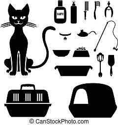 Cat and set to care for her - Vector illustrations of...
