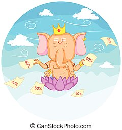 Happy Ganesh Chaturthi sale offer - Lord Ganesha in vector...