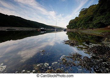 A mirror like reflection River Erme, Devon UK - As the dawn...