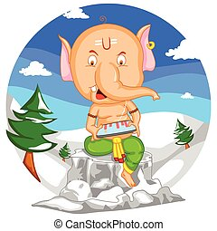 Happy Ganesh Chaturthi - Lord Ganesha in vector for Happy...
