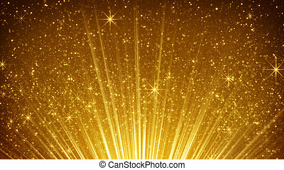 rising gold particles in light rays. computer generated...