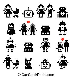 Robot family, female, baby robot - Vector icons set of...
