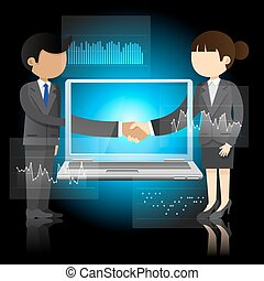 businessman and business woman shaking hands and laptop