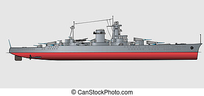 Battleship - Military navy ships Vector art illustration of...