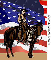 cowboy on a horse - cowboy with hat on a big horse on the...