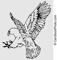 Eagle - Vector illustration of eagle.Black silhouette on...